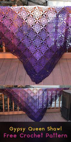 Gypsy Queen Shawl Free Crochet Pattern #crochet #crafts #yarn #shawl #fashion #style #idea