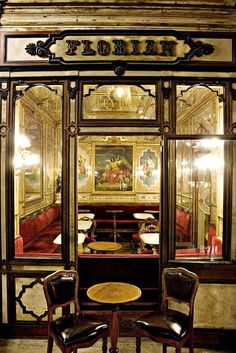 Cafe Florian in Venice Italy. The city's oldest cafe…1645. It is as much a museum as a great spot to sip a cup of coffee and listen to live music.