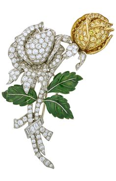 "OSCAR HEYMAN - AN ART DECO YELLOW AND COLOURLESS DIAMOND BROOCH, CIRCA 1935. Constructed as a spray of two rose blossoms, fancy yellow diamonds in 18k yellow gold, and colourless diamonds in platinum, three green translucent enamelled white gold leaves, baguette and round brilliant cut diamond ribbon. 2 3/4"". #OscarHeyman #ArtDeco #brooch"