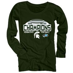 Michigan State Spartans Women's 2015 Big Ten Conference Football Champions Long Sleeve T-Shirt - Green Michigan State University, Michigan State Spartans, Spirit Jersey, Champion, Football, T Shirts For Women, Conference, Sweatshirts, Mens Tops