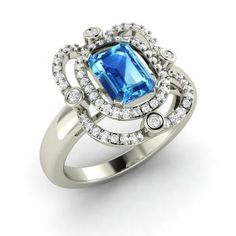 Emerald-Cut Blue Topaz Engagement Ring in 14k White Gold with SI Diamond