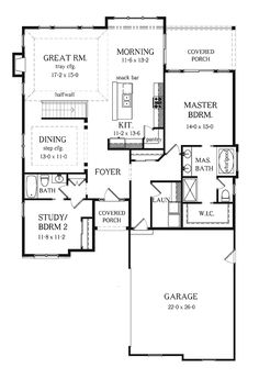 ideas about Bedroom House Plans on Pinterest   House plans     Bedroom Ranch House Plans   Basement   Two Bedroom Ranch Home