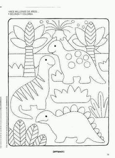 dinosaur color page Dinosaurs Preschool, Dinosaur Activities, Preschool Writing, Dinosaur Crafts, Preschool Printables, Preschool Worksheets, Kindergarten Activities, Preschool Activities, Drawing For Kids