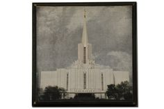Super Saturday Craft Ideas.  12 x 12 Jordan River Temple Plaque.  Comes as an unfinished kit.  Kit includes unpainted wood plaque and 12x12 print of Jordan River Temple.  $16.95