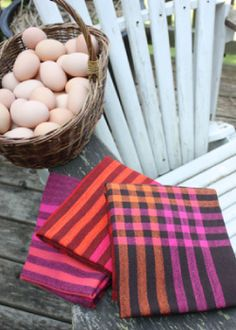 Cornucopia Tea Towels, a free weaving pattern by Jane Stafford using Louet 100% Organic Cotton yarn