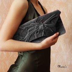 Clutch Love Grey Clutch Bag in Velvet plush..Love by MariesCorner