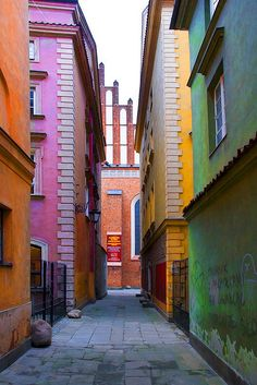 Colourful buildings in Warsaw, Poland by sebastian.partyka, via Flickr