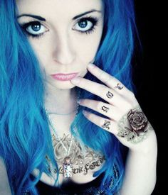 bibi barbaric emo scene girl blue turquoise hair style curly blonde black eyes make up piercings tattoo colorful cute kawaii sweet body     Quickest & Easiest Way to Find Your Dream Tattoo http://www.tattoomenow.com/cb/?hop=davew2664