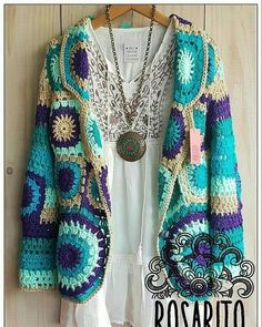 ideas crochet granny square scarf pattern diy You are in the right place about Knitting designs Here we offer you the most beautiful pictures. Moda Crochet, Pull Crochet, Crochet Coat, Crochet Cardigan Pattern, Crochet Jacket, Crochet Clothes, Crochet Patterns, Crochet Bolero, Crochet Tunic