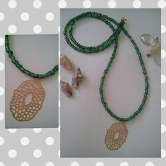 Lond Charm Necklace with Green Beads and a gold plated charm by Be Serendipity!