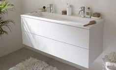 Meuble 2 tiroirs + vasque en pierre de synthèse  simple ou double perçage  120 cm - blanc