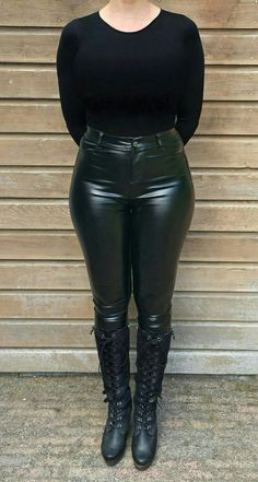 Tight leather pants with lace-up boots. Delicious confection of blackness. The a… Tight leather pants with lace-up boots. Delicious confection of blackness. The adorational imperative is evident. Tight Leather Pants, Black Leather Leggings, Shiny Leggings, Leather Trousers, Leather And Lace, Pantalon Vinyl, Cute Tights, Casual Fall Outfits, Outfit Winter
