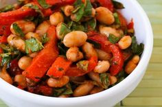 White Bean and Roasted Red Pepper Salad Recipe with Roasted Tomato-Basil Dressing by kalynskitchen #Beans #Salad #Basil #kalynskitchen