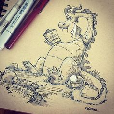 """#inktober day 5: SAD. Chapter 14 gets to """"AAgar the Emotional"""" every time. #inktoberdragons"""