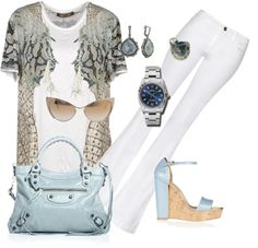 """White Jeans"" by celene310 on Polyvore"