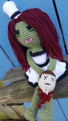 New Finished Zombie:  Nancy Nastipants    Etsy listing at https://www.etsy.com/listing/483125936/crocheted-girl-zombie-nikki-nastipants