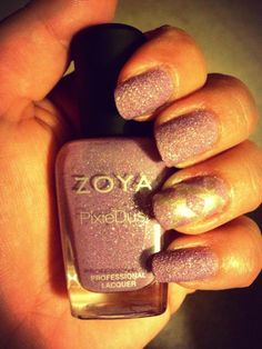 Zoya pixie dust. Purple and silver accent nail.