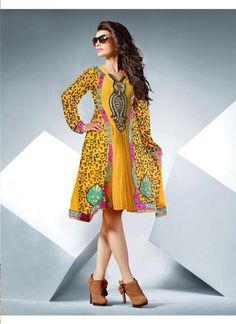 "Designer Wear Georgette Kurti with Santoon lining in Yellow color with fine embroidery work en-crafted. Length: 38"" and Size: L, XL"