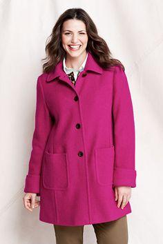 Women's Plus Size Drop Shoulder Boiled Wool Coat from Lands' End