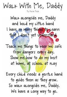 """""""Walk With Me, Daddy"""" card for Father's Day. Footprints for both kids."""