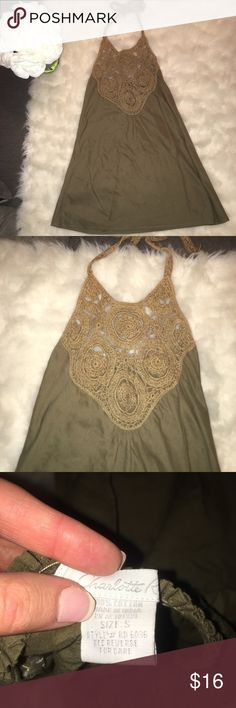 * Charlotte Russe crochet olive green halter top Charlotte Russe olive green halter top. Gently used, size small  Check out my closet to bundle!! Charlotte Russe Tops Tank Tops