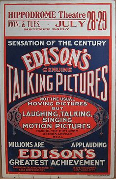 """The Orpheum Theatre was the first theatre in town to screen an """"Edison talking picture."""" At the time, there ere no movies or """"motion pictures"""" as Edison preferred. Click-through to read more about the """"talkie"""" coming to Duluth ---> Advertising History, Old Advertisements, Vintage Ephemera, Vintage Ads, Vintage Images, 78 Records, Vinyl Records, Edison Phonograph, Musica Disco"""