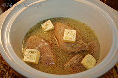 Easy Crockpot Lemon Chicken: 6 boneless, skinless chicken breasts, 1/4 c. butter, 2 c. lemon juice, 1 packet of Italian dressing seasoning. Cook for 6 hours on low.