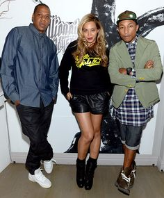 A casual Beyonce was flanked by hubby Jay-Z and Pharrell Williams at the 10th anniversary bash for Billionaire Boys Club (presented by HTC) at Tribeca Canvas in NYC June 4.