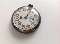 Small Antique Chrono M  Silver metal pocket Watch stopwatch by Hannahandhersisters on Etsy