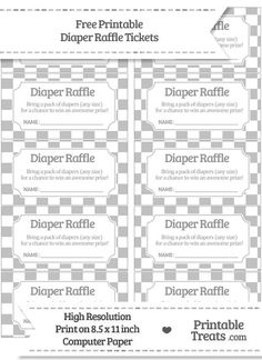Diaper Raffle Ticket Printable Insert for a Baby Shower - Boy ...