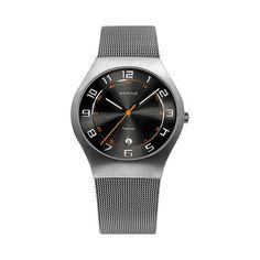 Bering Gents Titanium Black Dial Mesh Bracelet Watch