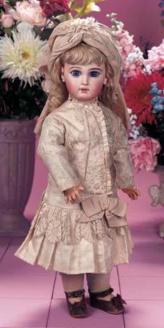 "Very Beautiful French Bisque ""Depose"" Bebe by Jumeau with Couturier Costume 22"" (56 cm.)"