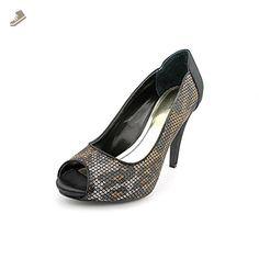 Style & Co. Womens Naveah Peep Toe Pumps in Black Leopard Size 6 - Style co pumps for women (*Amazon Partner-Link)
