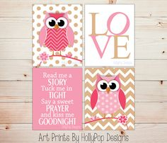 Nursery Decor-Read Me A Story Tuck Me in Tight-Nursery Quote-Whimsical Woodland Owls-Pink Baby Girl Decor