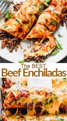 Steak Enchiladas, Shredded Beef Enchiladas, Slow Cooker Shredded Beef, Shredded Beef Recipes, Mexican Enchiladas, Mexican Shredded Beef, Homemade Enchilada Sauce, Homemade Enchiladas, Beef Enchilada Recipes