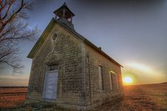 Abandoned one-room schoolhouse in Kansas.