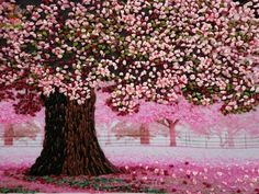 embroidered tree with what looks like pink French knot flowers