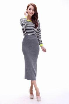 2016 весна осень женская вязаная юбка пят женский мода большой размер эластичный тонкий бедра обернуть длинные свободного покроя юбки купить на AliExpress