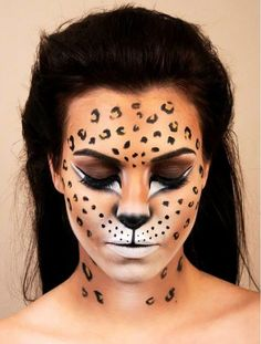 Leopard-print face paint - Halloween makeup ideas - please click for 8 other different ways you can be a cat this halloween #trickortreat...x