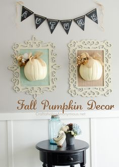 DIY Fall Framed Pumpkin Decor and crafts || Use chalk paint for pretty distressed wood frames.