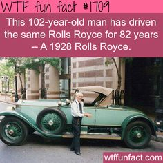 This 102 yr old man drove the same Rolls Royce for 82 years. Allen Swift received this 1928 Rolls-Royce Roadster from his father, brand new – as a graduation gift in It was donated to a Springfield museum after his death last year. Wtf Fun Facts, True Facts, Funny Facts, Random Facts, Random Things, Crazy Facts, Random Stuff, Strange Facts, Rolls Royce