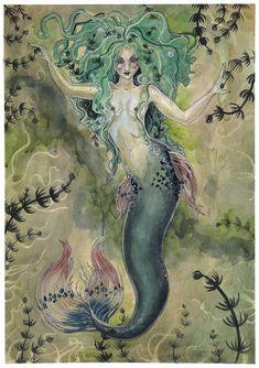 Mermaid by liselotte-eriksson Mermaid Artwork, Mermaid Drawings, Mermaid Paintings, Siren Mermaid, Mermaid Tale, Manga Mermaid, Fantasy Mermaids, Mermaids And Mermen, Fantasy Creatures