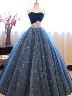 Sweetheart Lace Flower Crystal Prom Dresses Sleeveless Ball Gown Sexy Evening Dresses with Beads Blue Ball Gowns, Ball Gowns Evening, Sexy Evening Dress, Tulle Ball Gown, Ball Gowns Prom, Tulle Prom Dress, Cheap Prom Dresses, Ball Dresses, Sexy Dresses