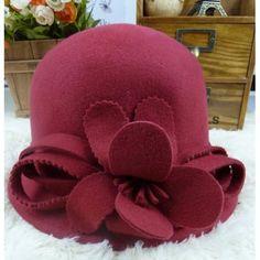 Buy Red Australian Wool Winter Warm Church Dress Bucket Hat for Women SKU-158070