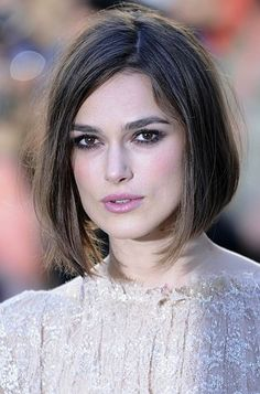 Keira Knightley shows off her short, straight bob.