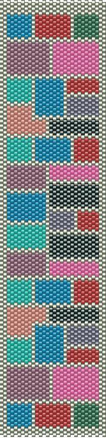 Peyote Pattern - Peyote Bracelet Quilt Multicolor Pattern