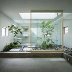 Japanese Style Bathroom with Interior Courtyard