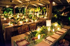 Friday night, we had a tropical rehearsal dinner at Tamarin restaurant. We wanted one event to feel distinctly different from the other beach-oriented events. The restaurant has small, little ponds with water lilies, along with parrots and iguanas, and we heightened this jungle vibe by hanging candles from the large tamarind tree, serving cocktails in carved coconuts, and lighting the palm trees from below. Runners were cut from a geometric Schumacher fabric, and our wonderful florist used…