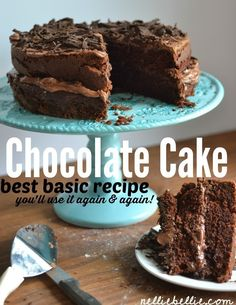 The best homemade chocolate cake! An easy, basic chocolate cake recipe from scratch!