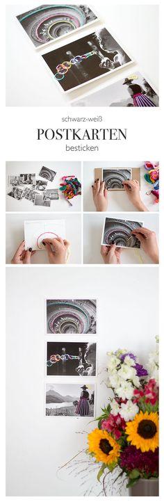 Postkarten besticken - mit Perlgarn bestickte schwarz-weiß Postkarten - lindaloves.de